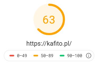 Katalog stron http://kafito.pl - wynik z Google PageSpeed Insights na poziomie 63 dla testu mobilnego
