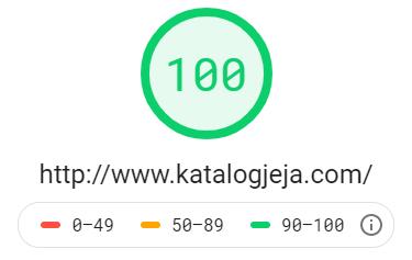 Katalog stron http://www.katalogjeja.com - wynik z Google PageSpeed Insights na poziomie 100 dla testu mobilnego