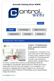 Zrzut ekranu katalogu stron http://controlwebs.pl
