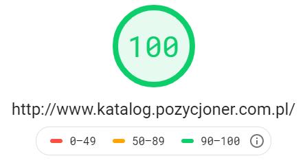 Katalog stron http://www.katalog.pozycjoner.com.pl - wynik z Google PageSpeed Insights na poziomie 100 dla testu mobilnego