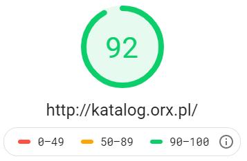Katalog stron http://katalog.orx.pl - wynik z Google PageSpeed Insights na poziomie 92 dla testu mobilnego