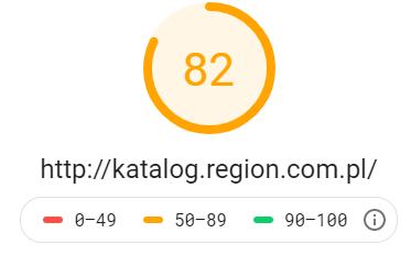 Katalog stron http://katalog.region.com.pl - wynik z Google PageSpeed Insights na poziomie 82 dla testu mobilnego
