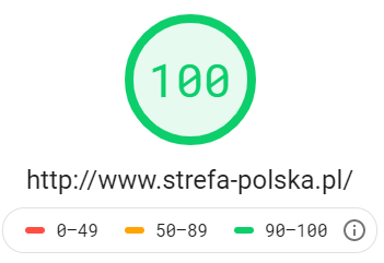 Katalog stron http://www.strefa-polska.pl - wynik z Google PageSpeed Insights na poziomie 100 dla testu mobilnego